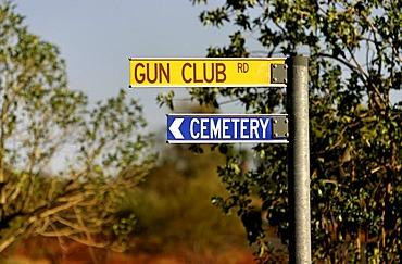 Interesting sign combination, Gun Club, cemetery, Mt Newman, Northwest Australia