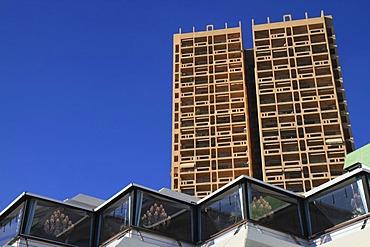 Grimaldi Forum, Columbia Palace high-rise building at back, Larvotto, Principality of Monaco, Cote d'Azur, Europe