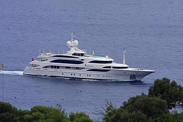 Motor yacht Lady Lara at Cap Martin near Monaco, Cote d'Azur, France, Europe
