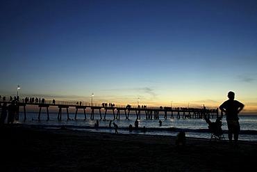 Dusk on the beach at Glenelg, Adelaide, South Australia, Australia