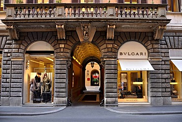 Burberry fashion store, jeweller Bulgari, Via dei Condotti, Rome, Lazio, Italy, Europe