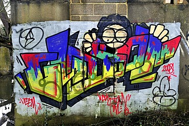 Graffiti on an old disused building, United Kingdom, Europe
