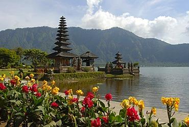 Bali Hinduism, colourful flowers in bloom, Balinese Pagoda, Pura Ulun Danu Bratan Temple, Bratan Lake, Bedugul, Bali, Indonesia, Southeast Asia, Asia
