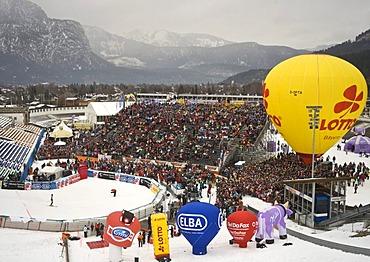 Grand stand in the Olympic ski stadium in Garmisch-Partenkirchen, slalom competition at the Gudiberg, Bavaria, Germany, Europe