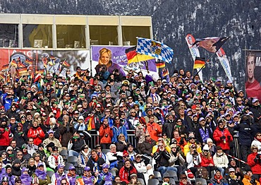 Maria Riesch fan club, grand stand in the Olympic ski stadium in Garmisch-Partenkirchen, slalom competition at the Gudiberg, Bavaria, Germany, Europe