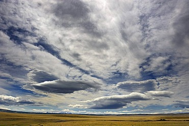 Dramatic clouds above Pampa, Patagonia, Chile, South America