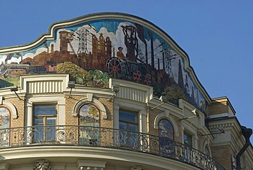 Soviet style mosaic art on top of the building of Hotel National, Moscow, Russia