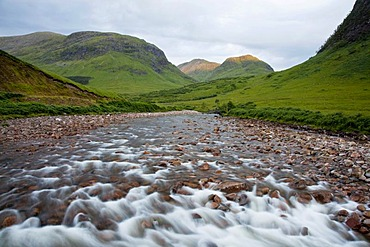 The River Etive in the Glen Etive in the Glen Coe in the Scottish Highlands, Scotland, United Kingdom, Europe