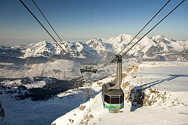 Cable car to the Chaeserrugg in Toggenburg, one of the seven Churfirsten, with a view to the Alpstein the with Saentis, Switzerland, Europe