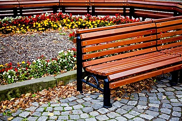 Bench in the district of Altkoetzschenbroda, Radebeul, Saxony, Germany, Europe