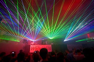 Laser show, Winter World 2010, techno festival in Sports Hall Oberwerth, Koblenz, Rhineland-Palatinate, Germany, Europe