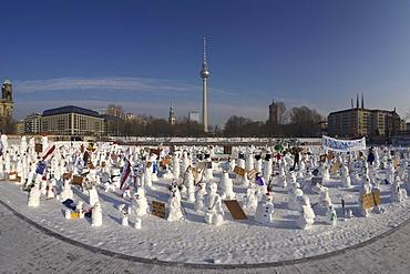 Demonstration of snowmen against climate change on the Schlossplatz in Berlin, Germany, Europe