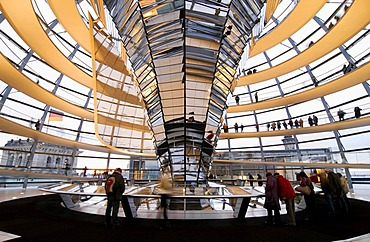 Glass dome of the Reichtstag building, Berlin, Germany, Europe