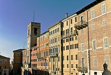 Building facades and clock tower in Piazza Plebiscito or Piazza del Papa, Ancona, Marche, Italy, Europe