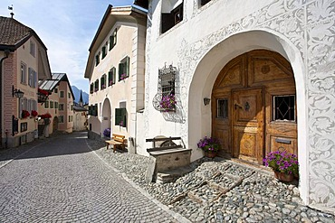 Typical houses, painted facades, village, Guarda, Lower Engadine, Grisons, Grisons, Switzerland, Europe