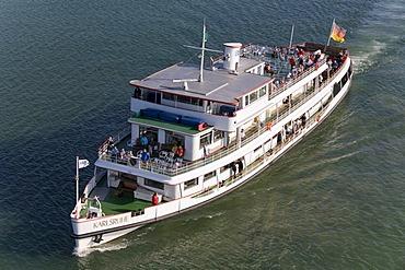 Excursion ship Karlsruhe at Friedrichshafen, white fleet, Lake Constance, Baden-Wuerttemberg, Germany, Europe