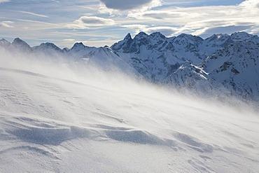 Snowstorm on Mt Fellhorn, snowdrift, winter, Oberstdorf, Allgaeu Alps, Allgaeu, Bavaria, Germany, Europe