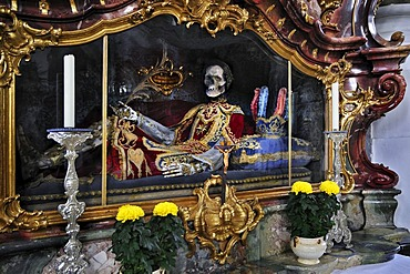 St. Boniface-Medicus and martyr, skeleton behind glass, Basilica of the Benedictine Abbey in Ottobeuren, Bavaria, Germany, Europe