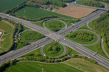 Aerial view, Autobahnkreuz Dortmund Unna motorway intersection of the A44 and A1 highways, Unna, Ruhrgebiet region, North Rhine-Westphalia, Germany, Europe
