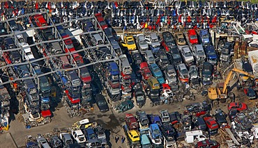 Aerial view, Industriepark Unna Ost industrial area, junkyard, Ruhrgebiet region, North Rhine-Westphalia, Germany, Europe