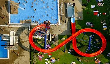 Aerial view, open air pool, water slide, Herdecke, Hagen, North Rhine-Westphalia, Germany, Europe