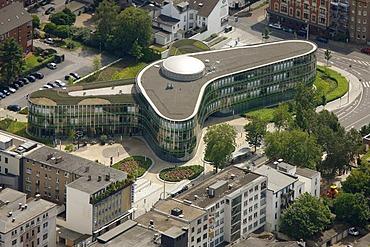 Aerial view, Sparkasse savings bank, headquarters, Oberhausen, Ruhrgebiet region, North Rhine-Westphalia, Germany, Europe