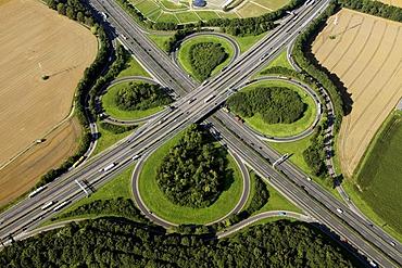 Aerial view, A1 and A44 motorway junction, Ringebrauck, Unna, Ruhrgebiet region, North Rhine-Westphalia, Germany, Europe