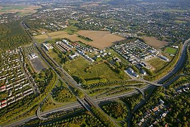 Aerial view, industrial area, Stadtkrone Ost car mile A40 B1 B236n motorways, former barracks site, Koerne, Dortmund, Ruhrgebiet region, North Rhine-Westphalia, Germany, Europe