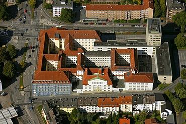 Aerial view, county court, courthouse, prison, Hagener Heide, Hagen, North Rhine-Westphalia, Germany, Europe