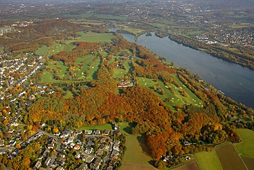 Aerial photo, Kemnader reservoir, Ruhr, Golf course Stiepl, Bochum, Ruhr district, North Rhine-Westphalia, Germany, Europe