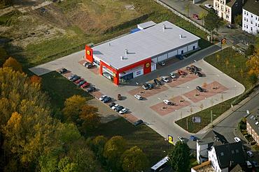Aerial shot, Lidl supermarket, Weitmar, Bochum, Ruhr, North Rhine-Westphalia, Germany, Europe