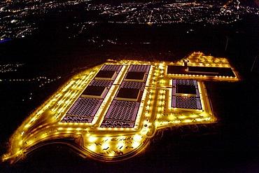Aerial shot, night scene, IKEA's European logistics center, Dortmund, North Rhine-Westphalia, Germany, Europe