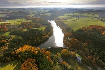 Aerial shot, Heilenbeck Dam, autumn, Ennepetal, Bergisches Land, North Rhine-Westphalia, Germany, Europe