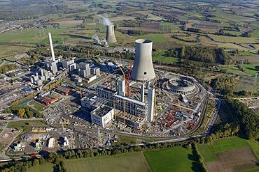 Aerial shot, RWE Westfalen power plant, RWE Power, Hamm-Uentrop, North Rhine-Westphalia, Germany, Europe