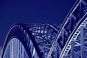 Hohenzollernbruecke bridge at night, detail, Cologne, North Rhine-Westphalia, Germany, Europe