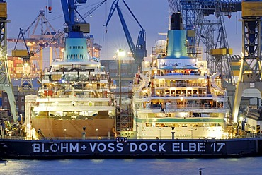The cruise ships MS Amadea and MS Albatros in the Elbe 17 dry dock of Blohm and Voss in the port of Hamburg, Germany, Europe