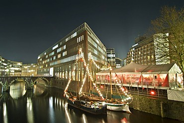 Christmas market on town canal island in Hamburg, Germany, Europe
