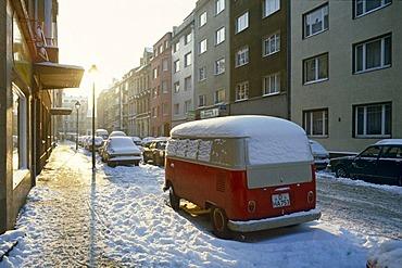 Snow in Duesseldorf in the 1980s, North Rhine-Westfalia, Germany, Europe