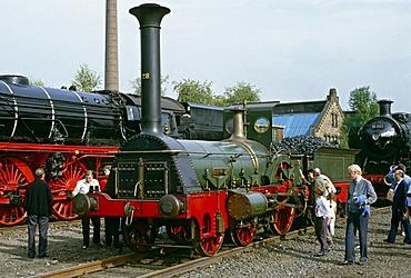 """Die Pfalz"" replica from 1925 at the 150th anniversary of DB in 1985, Bochum, North Rhine-Westfalia, Germany, Europe"