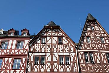 Historic half-timbered houses on the main market square, Trier, Rhineland-Palatinate, Germany, Europe