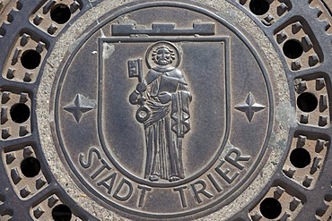 Manhole cover of the city of Trier with its coat of arms, Rhineland-Palatinate, Germany, Europe
