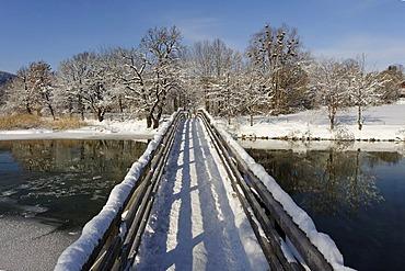 Wooden bridge across the Mangfall river near Gmund at the Tegernsee lake, Upper Bavaria, Germany, Europe