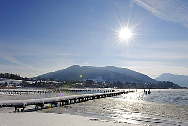 Jetties in front of the Mt. Neureut, Tegernsee lake, Upper Bavaria, Germany, Europe