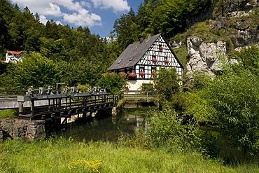 Water mill at Pottenstein, Naturpark Fraenkische Schweiz nature preserve, Franconia, Bavaria, Germany, Europe