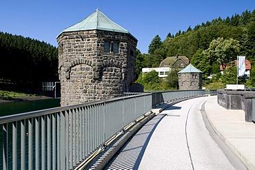Dam and barrage of the Fuerwiggetalsperre storage lake, Naturpark Ebbegebirge nature preserve, Sauerland region, North Rhine-Westphalia, Germany, Europe