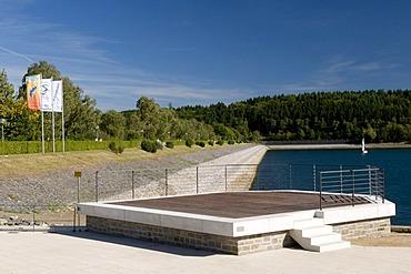 Platform and dam of the Sorpestausees reservoir, Naturpark Homert nature preserve, Sauerland region, North Rhine-Westphalia, Germany, Europe