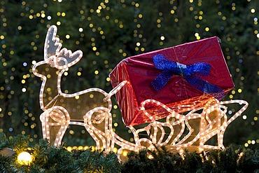 Illuminated reindeer sleigh on a Christmas market stall