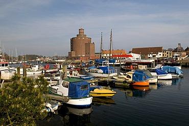 Rundspeicher round silo in the port, Baltic resort Eckernfoerde, Schleswig-Holstein, Germany, Europe