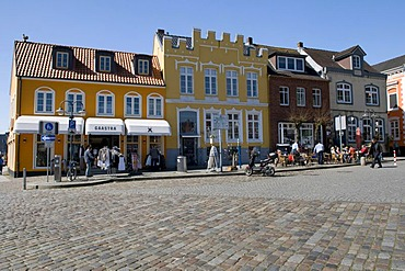 Houses at the harbor, Husum, North Friesland, Schleswig-Holstein, Germany, Europe