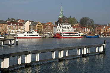 Harbour and old town of Kappeln on the Schlei river, Schleswig-Holstein, Germany, Europe